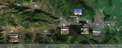 Foto satelital de la Región de Orizaba