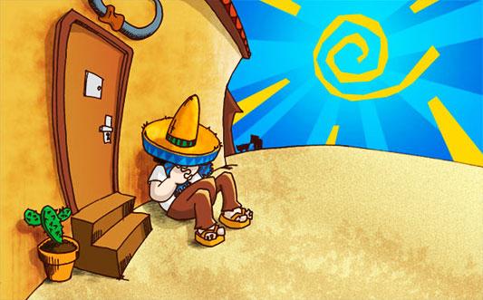 Estereotipo del mexicano durmiendo junto a un nopal.