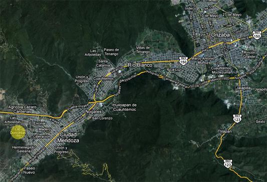 Ubicación en el Mapa del Rincón de las Doncellas, mostrando Orizaba.